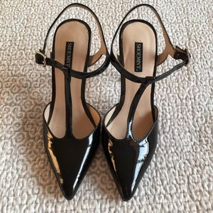 T-Strap Patent Pumps by Shoe Mint